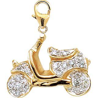 14k Yellow Gold 1/10ct TDW Diamond Scooter Charm