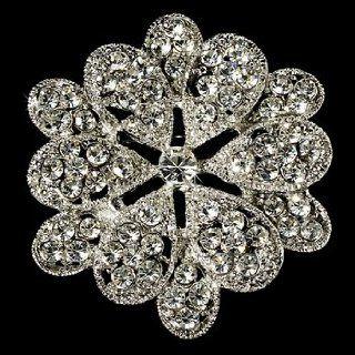 Elegant Vintage Pave Crystal Bridal Brooch Hair Clip