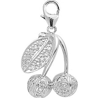 14k White Gold 1/8ct TDW Diamond Cherries Charm