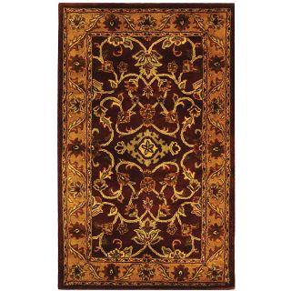 Handmade Taj Mahal Burgundy/ Gold Wool Rug (3 x 5)