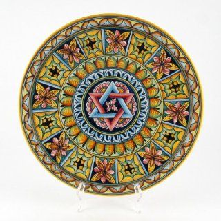 Hand Painted Italian Ceramic 13.8 inch Geometric Wall