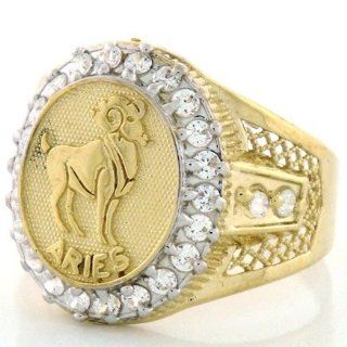 10K Solid Yellow Gold Mens Zodiac CZ Ring   Aries Jewelry