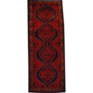 Persian Hand knotted Hamadan Red/ Gold Wool Rug (49 x 1111) Was $