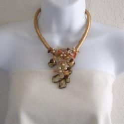 Orange Puma Satin Natural Beauty Carnelian Nuggets/Shells Necklace