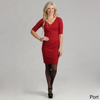 London Times Womens Linear Pucker Knit Dress