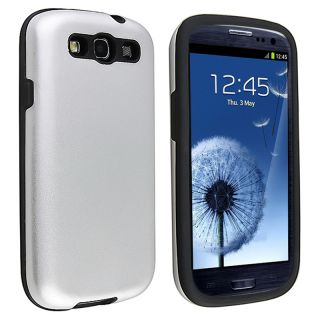 Black/ Silver Hybrid Case for Samsung Galaxy S III