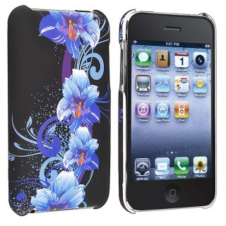 Blue Flower Rubber Coated Case for Apple iPod Touch Generation 2/ 3