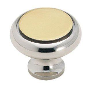 Amerock Solid Brass 1 1/4 Cabinet Knob Polished Chrome With Polished