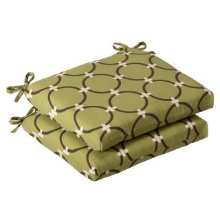 Pillow Perfect Outdoor Green/ Brown Geometric Squared Seat Cushions