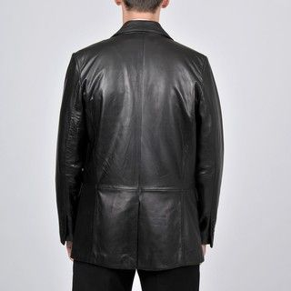 Knoles & Carter Mens Black Leather 2 button Blazer
