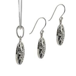 Sunstone Sterling Silver Open Disk Earring and Necklace Jewelry Set