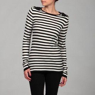 Romeo & Juliet Womens Black/ Ivory Stripe Sweater