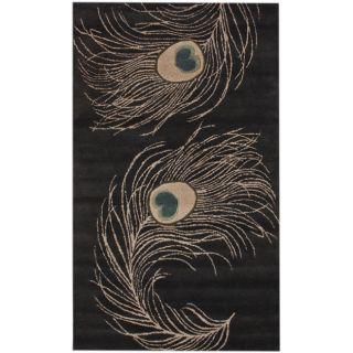Handmade Alexa Hand spun Peacock Wool Rug (76 x 96)