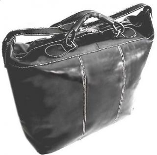 Floto Medium Piana Tote Black Italian Leather Luggage