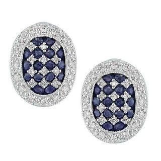 14k White Gold 1/3ct TDW Diamond Blue Sapphire Earrings