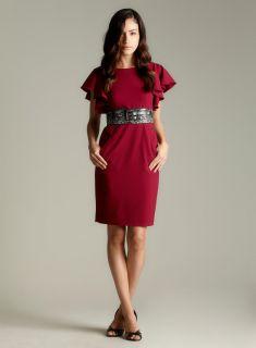 Calvin Klein Ruffle Sleeve Wide Belt Dress