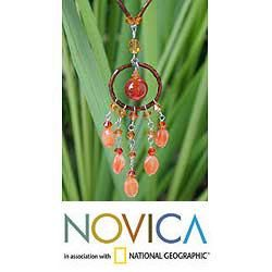Stainless Steel Dream Catcher Carnelian Necklace (Thailand
