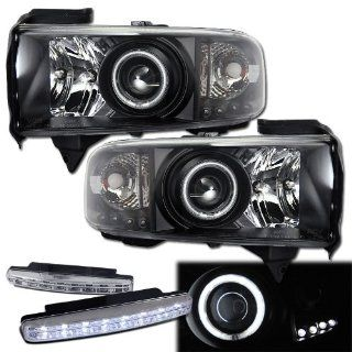 1994 2002 Dodge Ram 2500 Halo Projector Headlights + 8 Led Fog Bumper