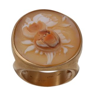 18k Gold Hand carved Shell Cameo Flowers Ring
