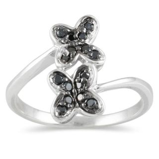 Sterling Silver 1/4ct TDW Black Diamond Flower Ring