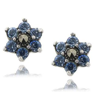 Sterling Silver Marcasite and Blue Cubic Zirconia Flower Earrings