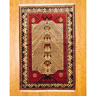 Persian Tribal Kurdish Ivory/ Red Wool Rug (43 x 68)