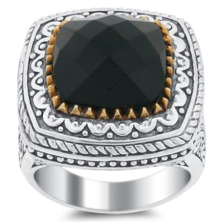 Meredith Leigh Sterling Silver and 14k Gold Onyx Ring
