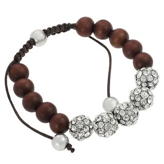 Journee Collection Rhinestone and Wood Bead Brown Cord Bracelet