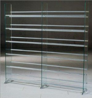 CD/DVD/VHS 12 Shelf Glass Media Rack/Storage Furniture