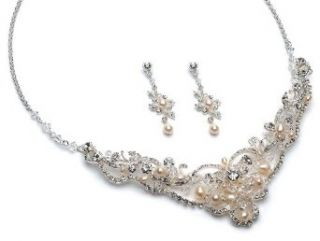 Wedding Jewelry, Crystal Beaded & Pearl Bridal Necklace