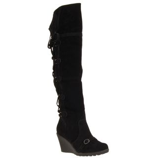 Riverberry Womens Sensi Black Microsuede Boots