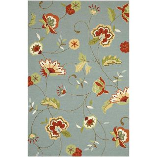 Hand Hooked Blue/ Red Floral Area Rug (76 x 96)