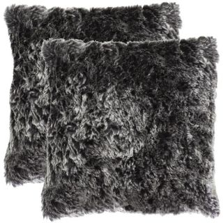 Faux Fur 18 inch Platinum Decorative Pillows (Set of 2)