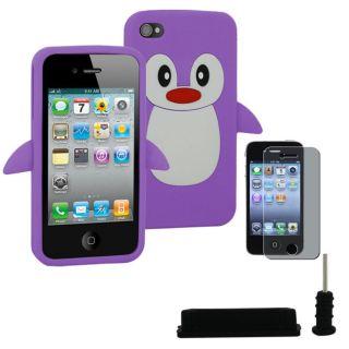 SKQUE Apple iPhone 4/4S Purple Penguin Silicone Case/ Black Anti dust