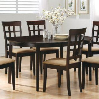 Cappuccino Finish Wood Dining Table Oval Kitchen Tables