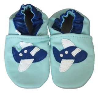 Baby Pie Blue Airplane Leather Boys Shoes