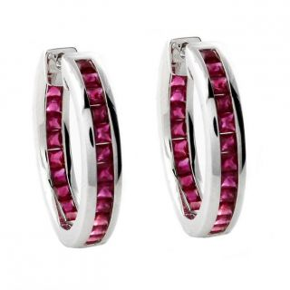 Beverly Hills Charm 14k White Gold Ruby Inside out Hoop Earrings