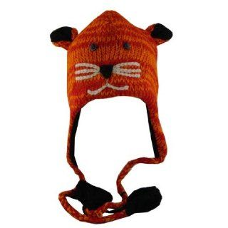 Adults Size Orange Mouse Wool Pilot Ski Animal Cap / Hat With Fleece