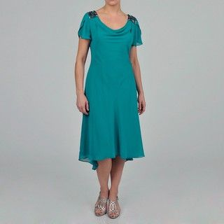 Fashions Womens Beaded Shoulder Chiffon Dress