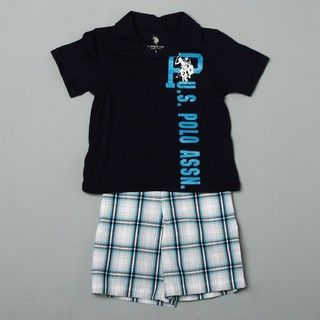 US Polo Boys Polo and Plaid Shorts