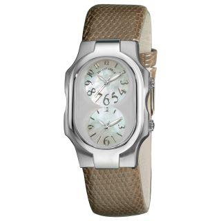 Philip Stein Womens Signature Brown Leather Strap Quartz Watch MSRP