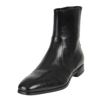 Prada Mens Black Leather Ankle Boots