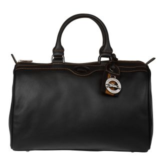 Longchamp Black Leather Satchel Handbag
