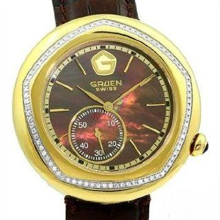 GRUEN Womens Swiss Gold tone Diamond Watch with Brown Mother of Pearl