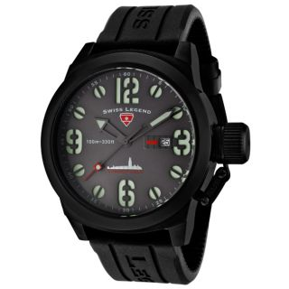 Swiss Legend Mens Submersible Black Silicone Watch