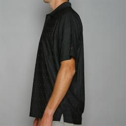 Greg Norman Mens Diamond Black Jacquard Play Dry Golf Polo