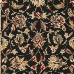 Hand hooked Chelsea Tabriz Black/ Ivory Wool Runner (26 x 8