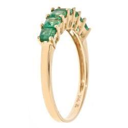 Yach 14k Yellow Gold Square cut Zambian Emerald Ring