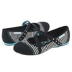 Skechers Teddy Black and White Stripe Canvas