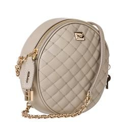 Dolce & Gabbana Taupe Quilted Leather Round Cross body Bag